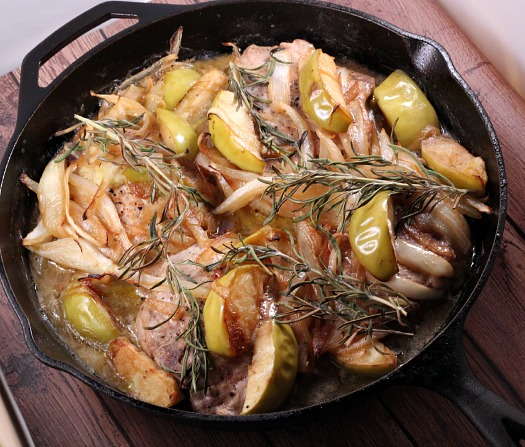 Paleo Smothered Apple and Onion Pork Chops