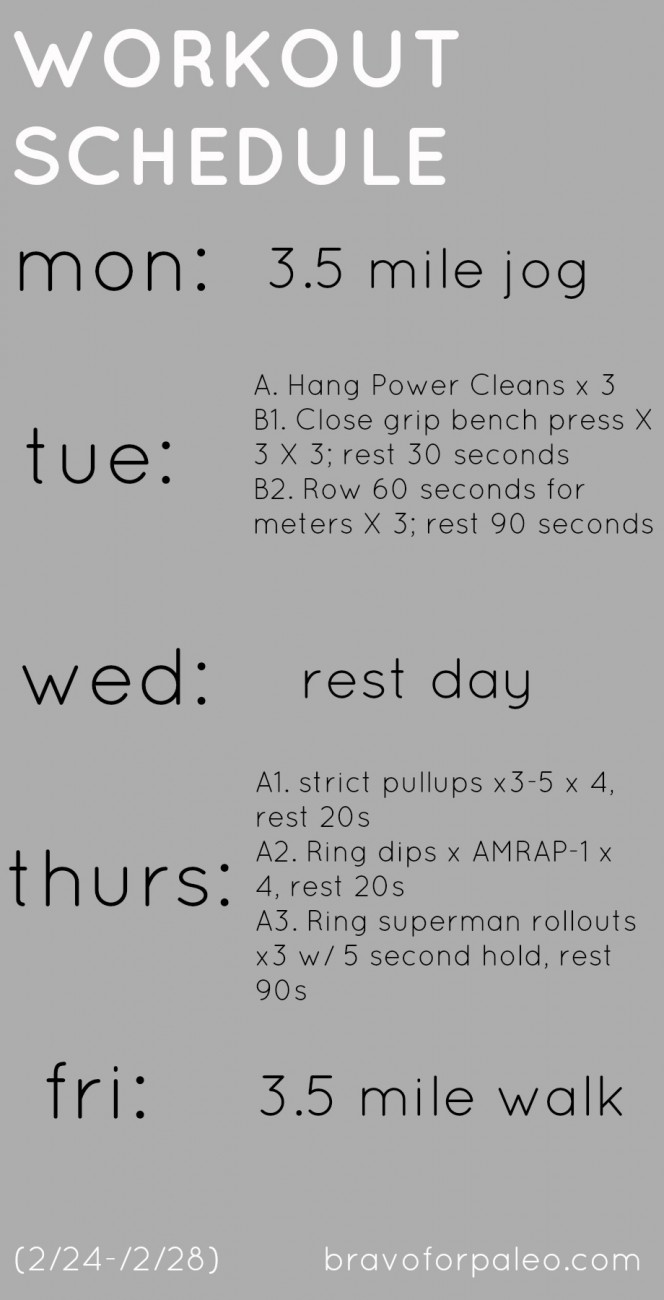 A typical workout week for a crossfitter!