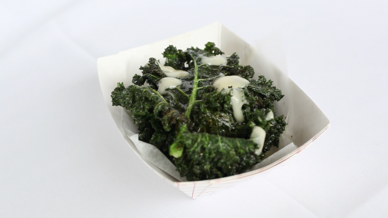 Kale Chips with Honey and Aioli