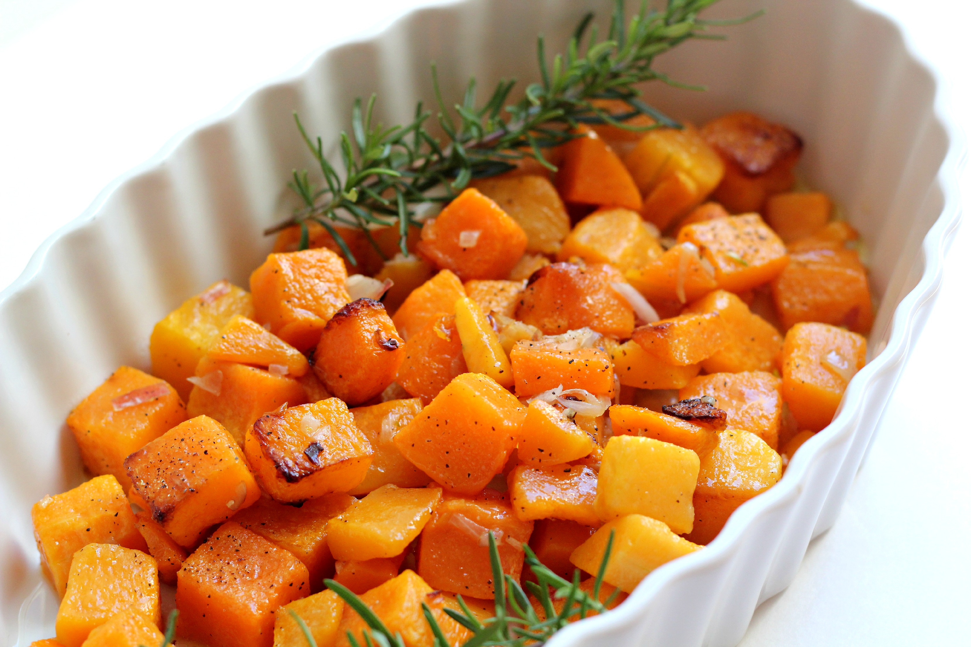 This Shallot and Rosemary Roasted Butternut Squash is a great side dish to accompany any dinner.