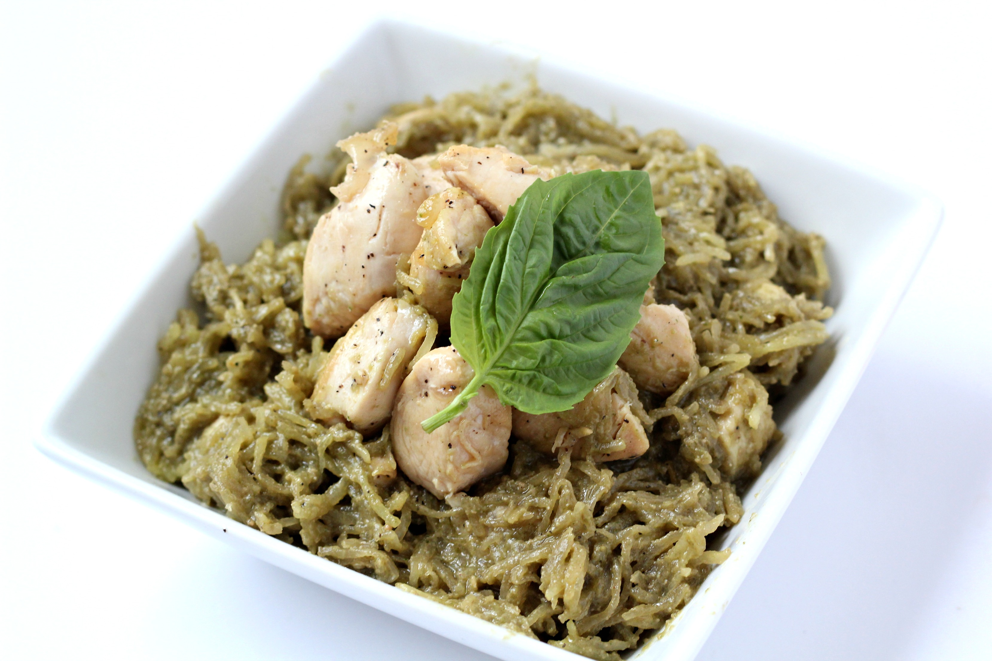 Paleo Pesto Spaghetti Squash with Chicken is one of my favorite meal prep meals. It's simple to make, super flavorful, and Whole30 compliant.