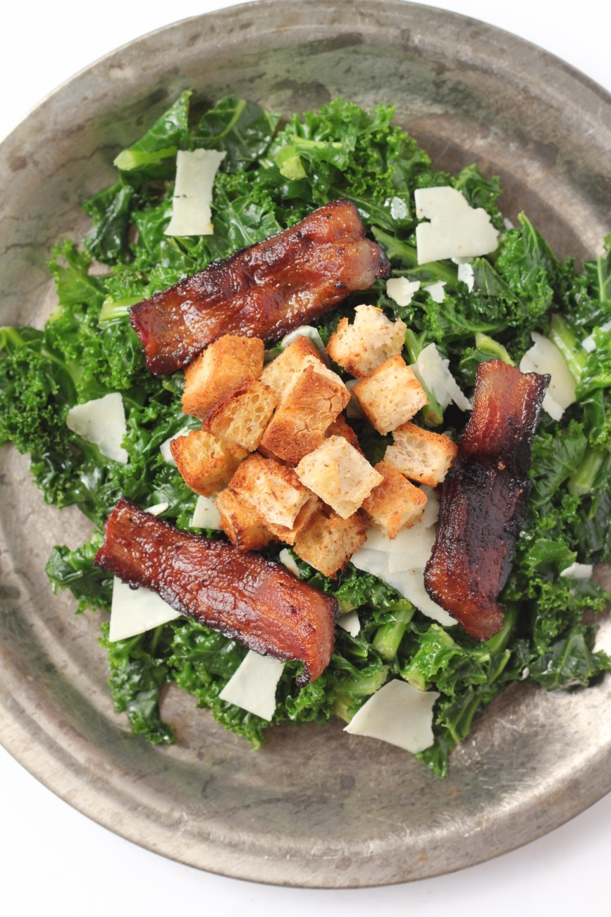 This Kale Bacon Salad will make you love kale. There's a secret trick to making kale not taste bitter!