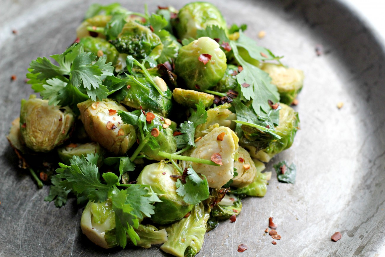Brussel Sprouts with Red pepper and cilantro